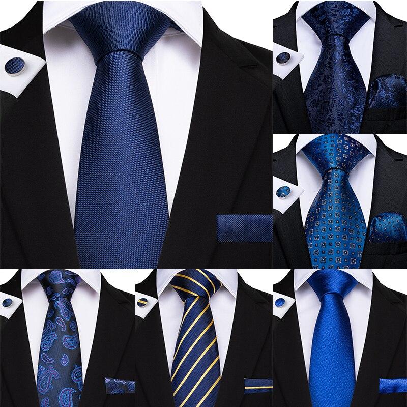 New Designer Fashion Men Tie Navy Blue Solid Paisley Plaid Quality Silk Wedding Tie For Men DiBanGu Hanky Cufflinks Gift Tie Set