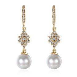 MxGxFam Gold Color 18 k Pearl 10 mm Drop Earrings For Charming Women Fashion Jewelry Good Quality