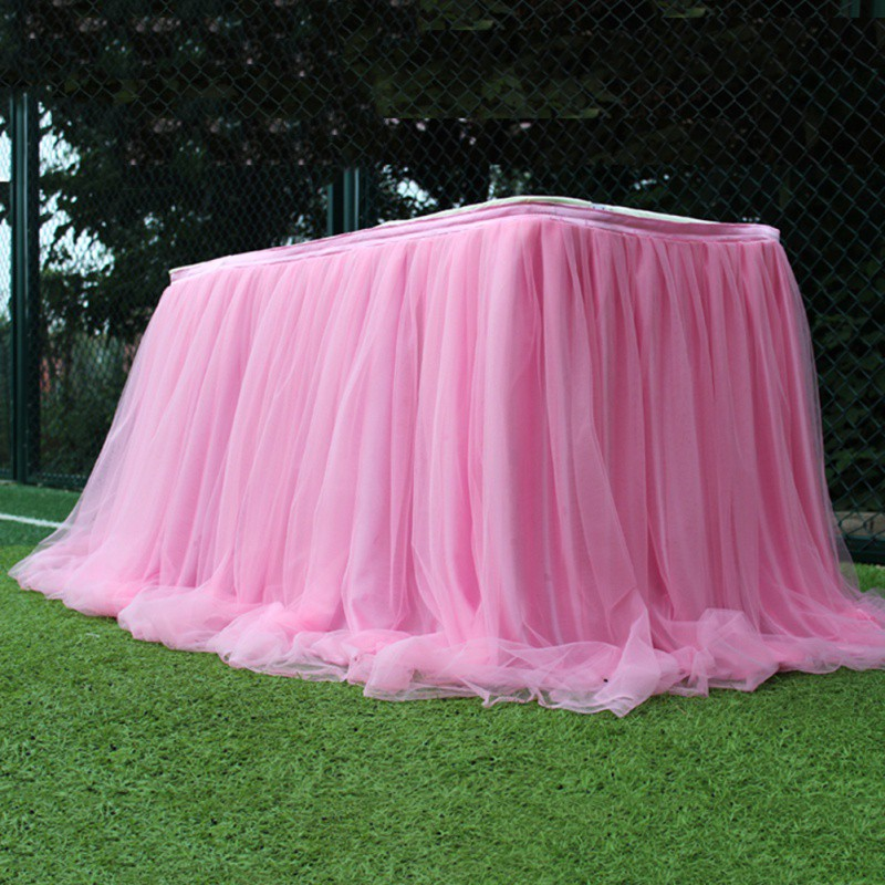 Colorful Table Skirt Tutu Tulle Tablecloth For Wedding Festival Party Table Decoration Soft Home Textile Tablecloth Accessories