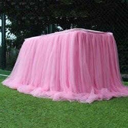 Colorido toalha de mesa Toalha de Mesa Saia Tutu de Tule para Festival Festa de Casamento Têxtil de Casa Toalha de Mesa Decoração Suave Acessórios