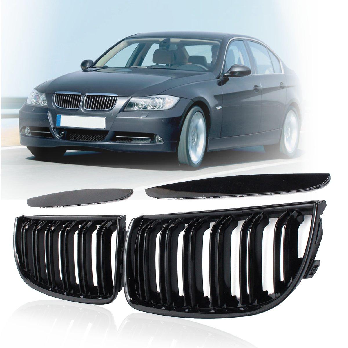 4 색 페어 프론트 글로스 매트 카본 M 컬러 블랙 2 라인 더블 슬랫 신장 그릴 그릴 BMW E90 E91 4 도어 2005 06 07 2008