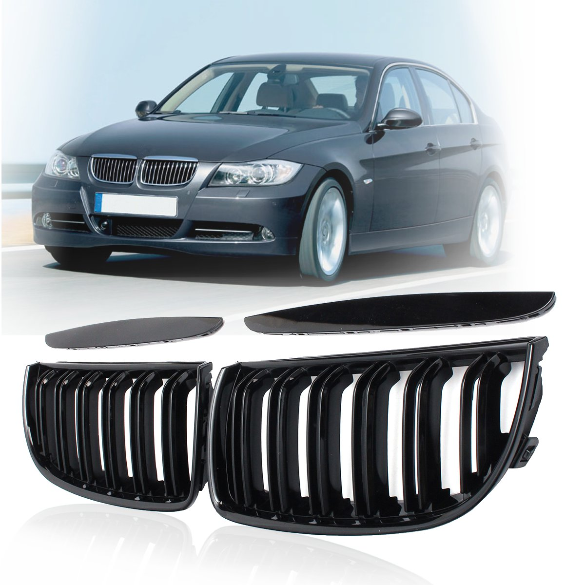 4 par de cores frente gloss fosco carbono m cor preto 2 linha dupla slat rim grille grill para bmw e90 e91 4 portas 2005 06 07 2008