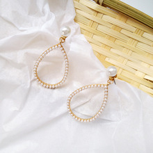 Korean fashion pearl geometric water drop large dangle earrings for women pearls gift