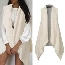 Vests Party-Jackets Faux-Fur Celmia Fluffy Sexy White Winter Women Sleeveless Coats Outerwear