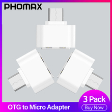 PHOMAX Micro USBadapter 3Pack Mini OTG Adapter for Mobile Phone Tablet Card Reader Flash Mouse Keyboard Expansions Converter