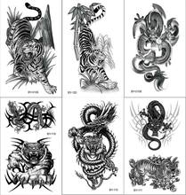 Black Tiger and Dragon Tattoos Fake Men Tatoos Waterproof Beast Monster Body Arm Legs Stickers Tatouage Temporary Paper Tatoo(China)
