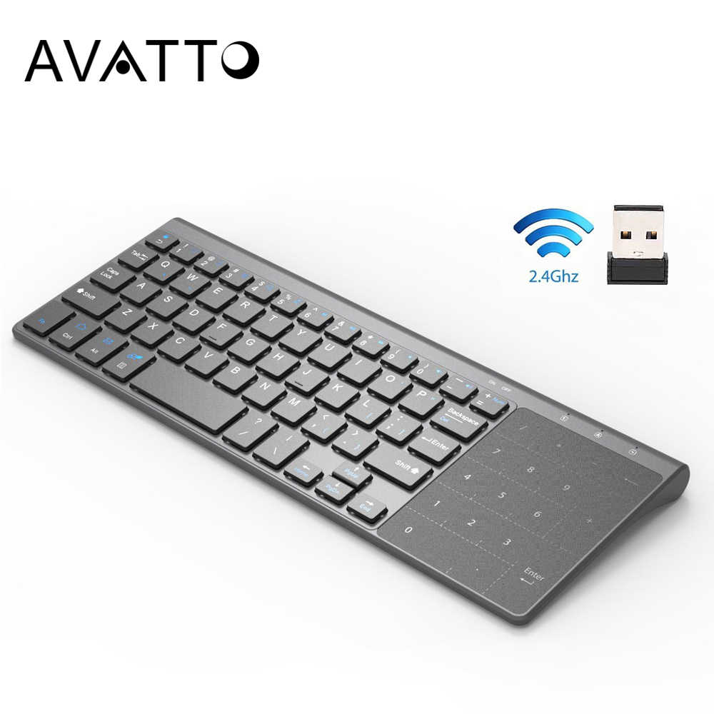 [Avatto] fino 2.4 ghz usb sem fio mini teclado com número touchpad numérico teclado para android windows tablet, desktop, computador portátil, pc
