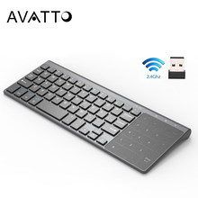 [Avatto] Thin 2.4 Ghz Usb Wireless Mini Keyboard Met Nummer Touchpad Numeriek Toetsenbord Voor Android Windows Tablet, desktop, Laptop, Pc(China)