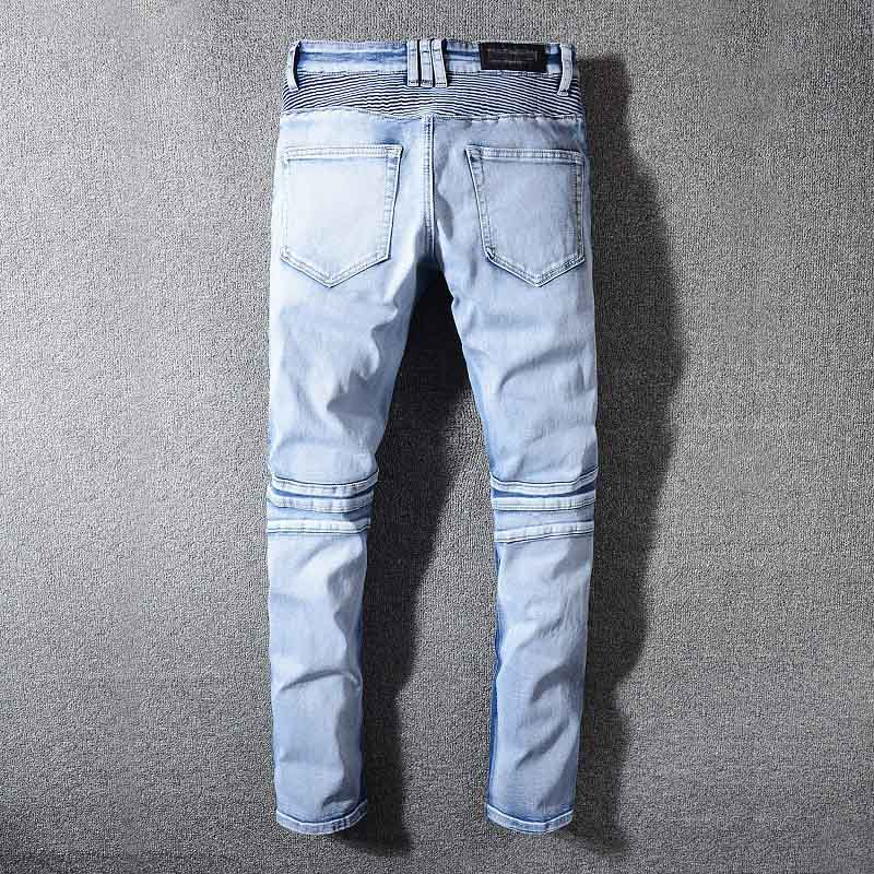 Mcikkny Men`s High Street Ripped Denim Trousers Washed Destroyed Distressed Jeans Pants For Male Size 29-42 Straight (1)