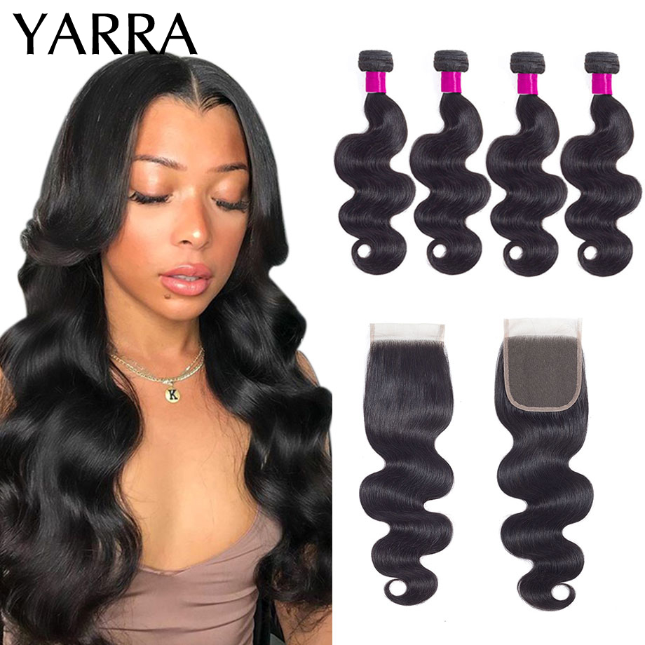 Peruvian Body Wave Bundles with Closure 100% Human Hair Weave Bundle With Lace Closure 4x4 Pre Plucked with Baby Hair Remy Yarra