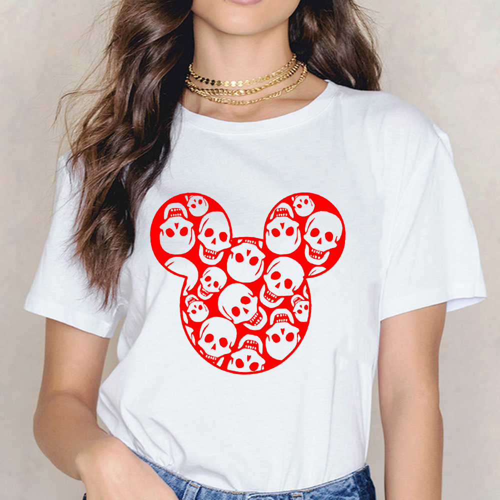 Halloween Skull Mouse Head Women T Shirt Female T-shirt Top Tee Shirts Harajuku Summer 90s Grunge Streetwear Tshirt