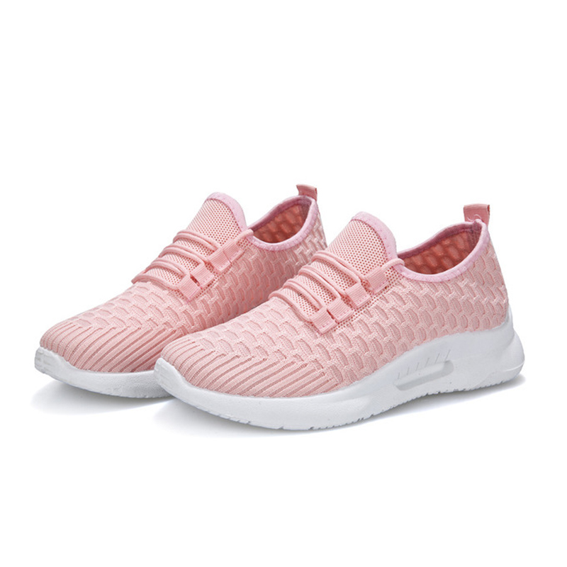 CXJYWMJL Fashionable Breathable Mesh Casual Shoes For Walking With Laces Flat Shoes Sneakers Women Tennis Shoes Pink Black 9.9