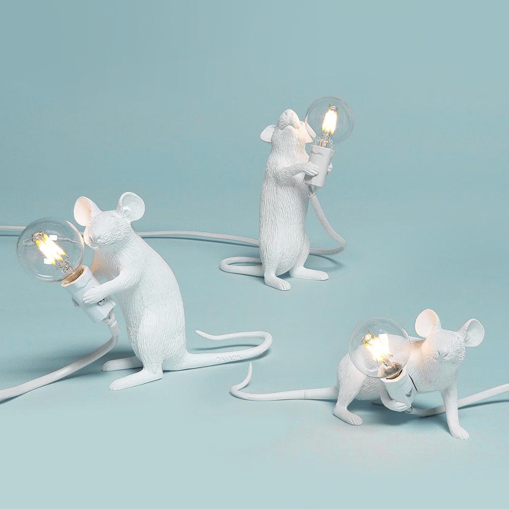 Pós-moderna resina animal rato rato lâmpada de mesa pequeno mini mouse bonito led luzes da noite decoração para casa lâmpada cabeceira