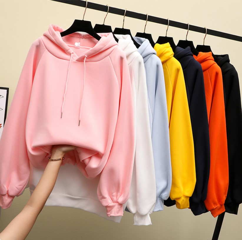 Autumn And Winter New Women's Hooded Sweatshirt Long-sleeved Yellow Female Hooded Loose Hooded Female Thick Coat Hoodies-