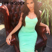 For Insider Sexy backless bandage bodycon dress women White long party club dresses elegant Spaghetti strap maxi winter