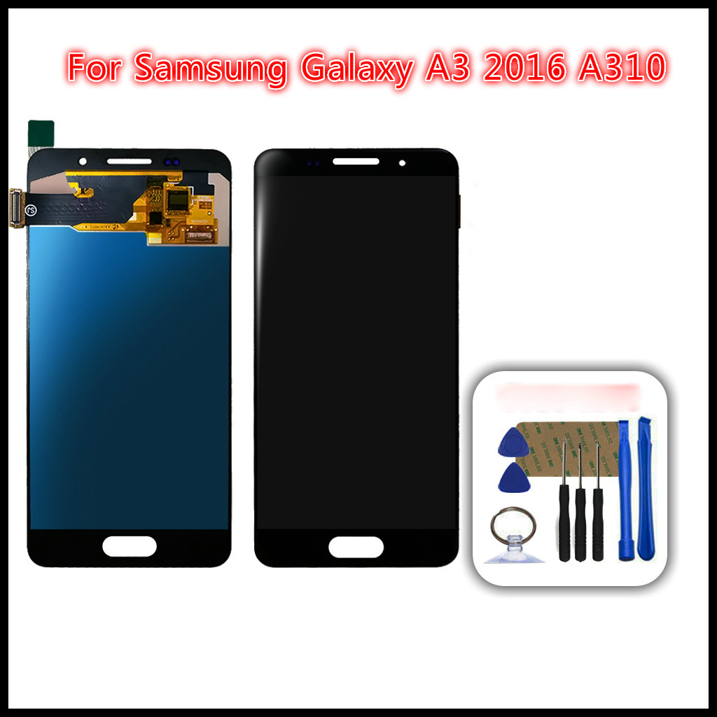 100% High quality For <font><b>Samsung</b></font> Galaxy A3 2016 A310 <font><b>A310F</b></font> A310H A310M <font><b>LCD</b></font> Tested Display Digitizer Touch Screen Assembly +Tools image