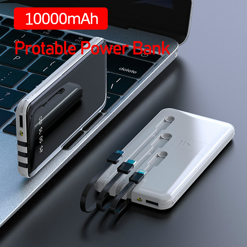 10000 MAh Portable Power Bank Built-in 3 Cables Full Screen Powerbank Fast Charging External Battery for IPhone Samsung Xiaomi