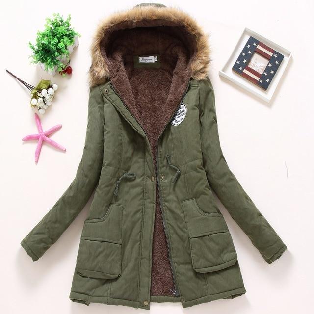 FTLZZ New Winter Coats Women Cotton-wadded Slim Jacket Thermal Warm Parkas Quilt Overcoat Poncho Jaqueta Casacos Feminina 2