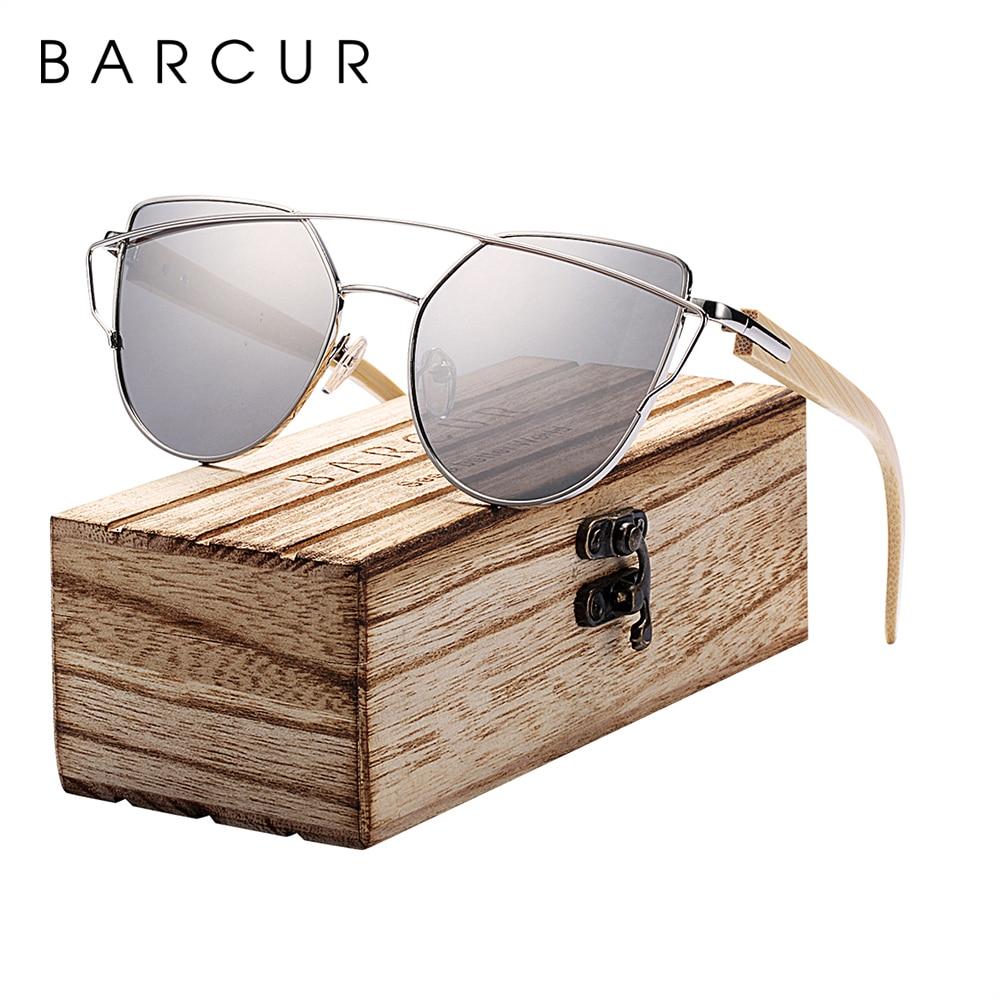 Солнцезащитные очки BARCUR кошачий глаз, Женские бамбуковые солнцезащитные очки UV400, зеркальные винтажные деревянные солнцезащитные очки