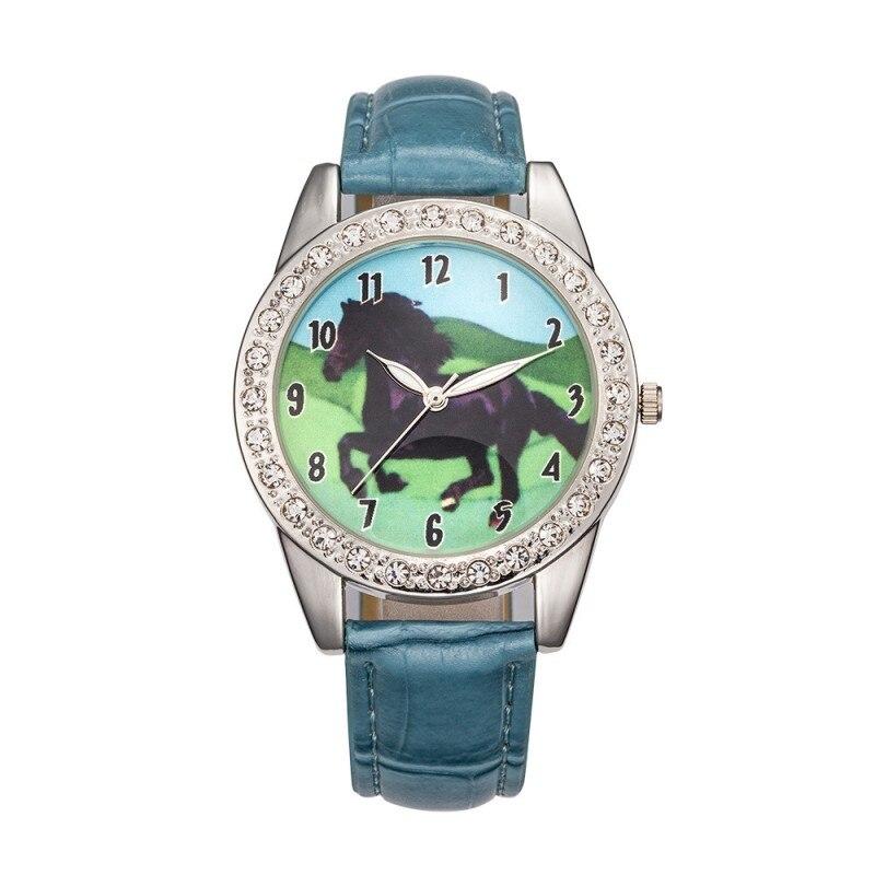 New Arrival Fashion Leather Kids Running Horse Watch Children Girls Boys Students Quartz Wristwatch Watches Relogio Feminino