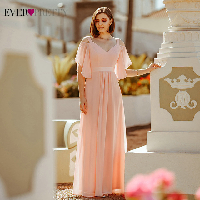 Ever Pretty Pink Bridesmaid Dresses A Line V Neck Off The Shoulder Elegant Long Dresses For Wedding Party Robe Mousseline 2020