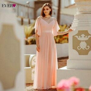 Image 1 - Ooit Pretty Pink Bruidsmeisje Jurken A lijn V hals Uit De Schouder Elegante Lange Jurken Voor Wedding Party Robe Mousseline 2020