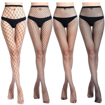 Mesh Sexy Stocking Women Transparent Knee Fishnet Stockings Nylon Tights Long Jacquard Step Foot Seam Pantyhose Plus Size S M L - discount item  39% OFF Women's Socks & Hosiery