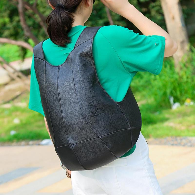 Fashion PU Leather Anti Theft Backpack Women Men Multi-function Solid Color Travel Outdoor Backbag Lady Casual Turtle Shell Bag