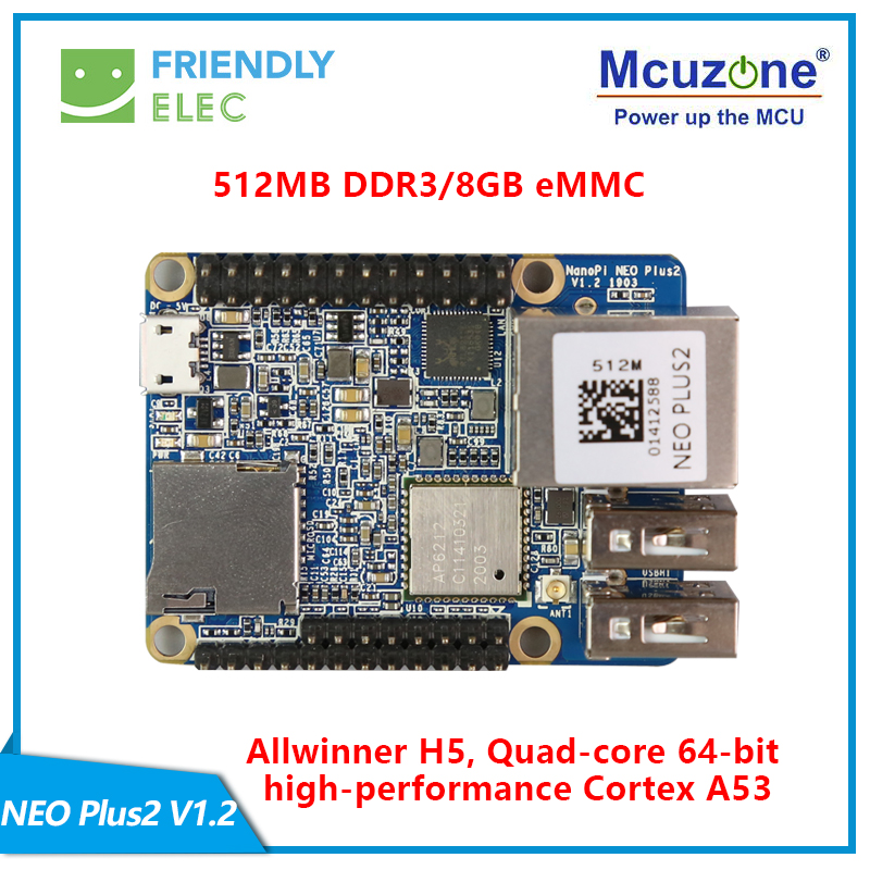FriendlyELEC NanoPi-NEO Plus2 512MB DDR3 RAM 8GB EMMC Allwinner H5 Quad-core 64-bit High-performance Cortex A53