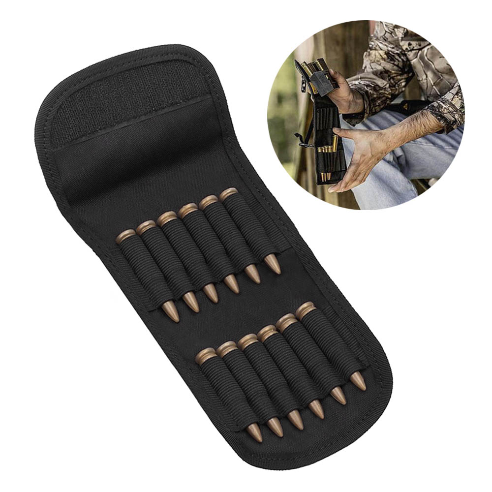 Folding Handgun Cartridge Carrier 12 Rifle Shells Cartridge Carrier Case Molle EDC Rifle Ammo Bag Hunting Bullet Holder Pouch