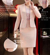 Lace Mother of the Bride Dresses Knee Length 2 Piece with Jacket Mother Dress High Quality  Wedding Party Groom Mother Gown 2020 mother