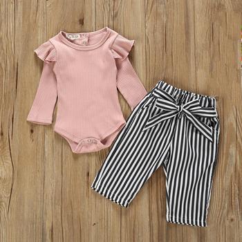 2019 New Autumn Baby Girl Clothes Cotton Pink Long sleeve Bodysuit Strips Pants 2Pcs Set Infant Newborn Baby Girl Clothing Set