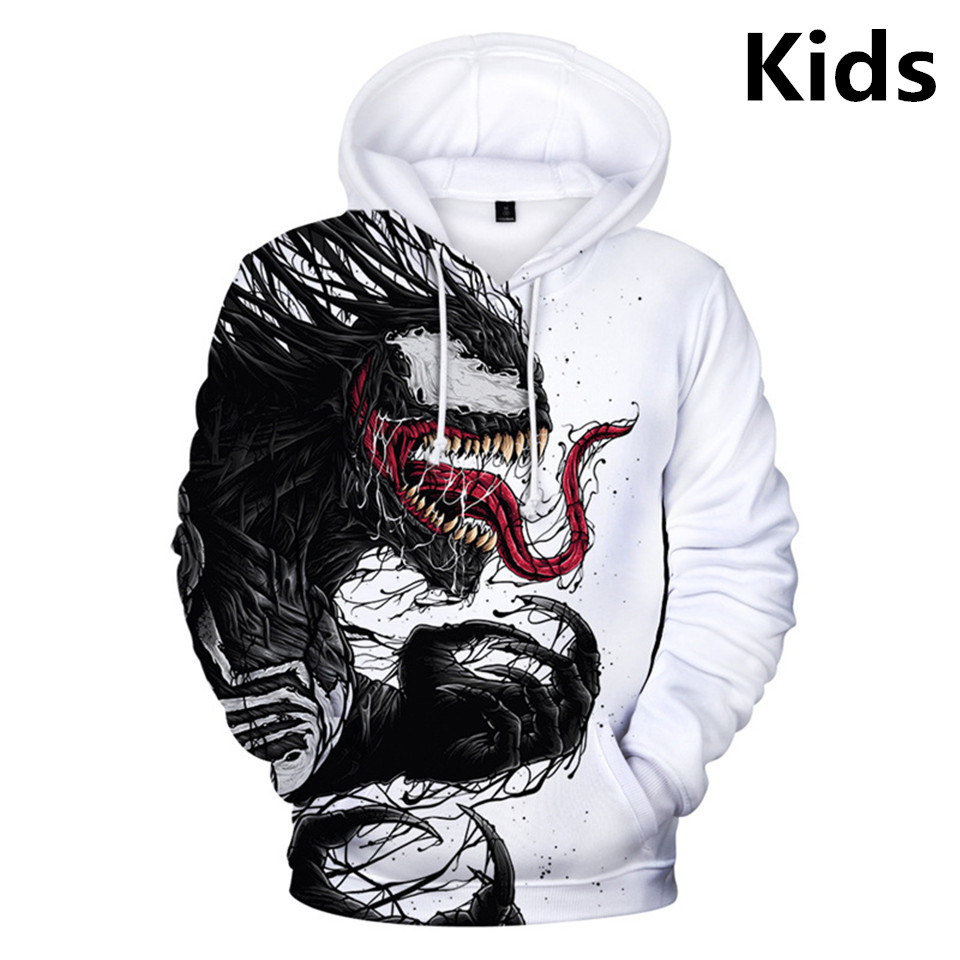 2 To 12 Years Kids Hoodies Movie Venom 3D Printed Hoodie Sweatshirt Boys Girls Cosplay Long Sleeve Jacket Coat Children Clothes