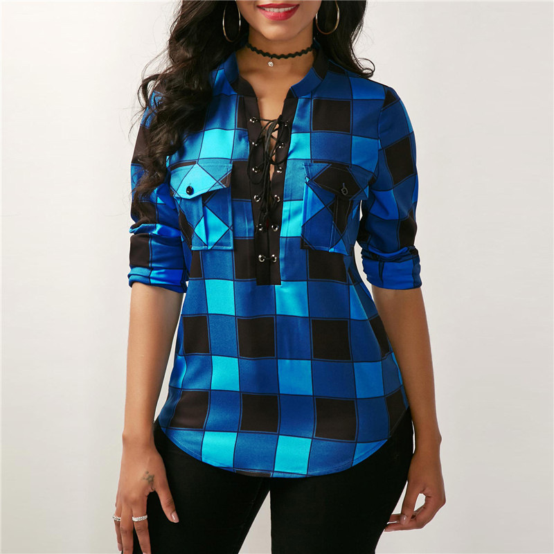 Office Lady Cotton Lace up Shirt 2