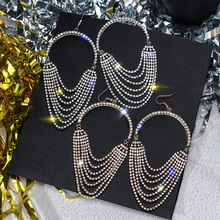 FYUAN European Long Tassel Crystal Drop Earrings for Women Exaggeration Gold Silver Color Rhinestone Earrings Bar Party Jewelry недорого