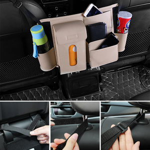 Image 2 - Multifunction Car Rear Seat Back Storage Bag PU Leather Hanging Organizer Bag Auto Stowing Tidying Interior Accessories Supplies