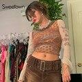 Sweetown Druck Mesh Goth Y2K Frau T-shirts Patchwork Vintage 90s E Mädchen Ästhetische Streetwear Transparent Sexy Herbst Crop Tees