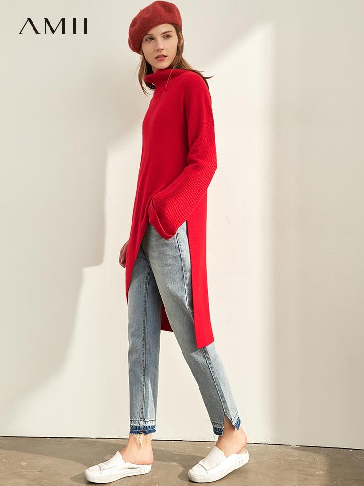 Amii Minimalist Long Sweater Winter Women Fashion Solid Loose Split Irregular Elegant Female Pullover Sweater 11980079