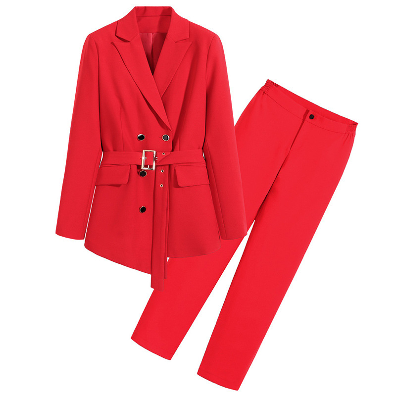 High Quality Women's Pants Two-piece Suit Large Size M-5XL Stylish Double-breasted Jacket Elegant Trousers Business Attire 2020