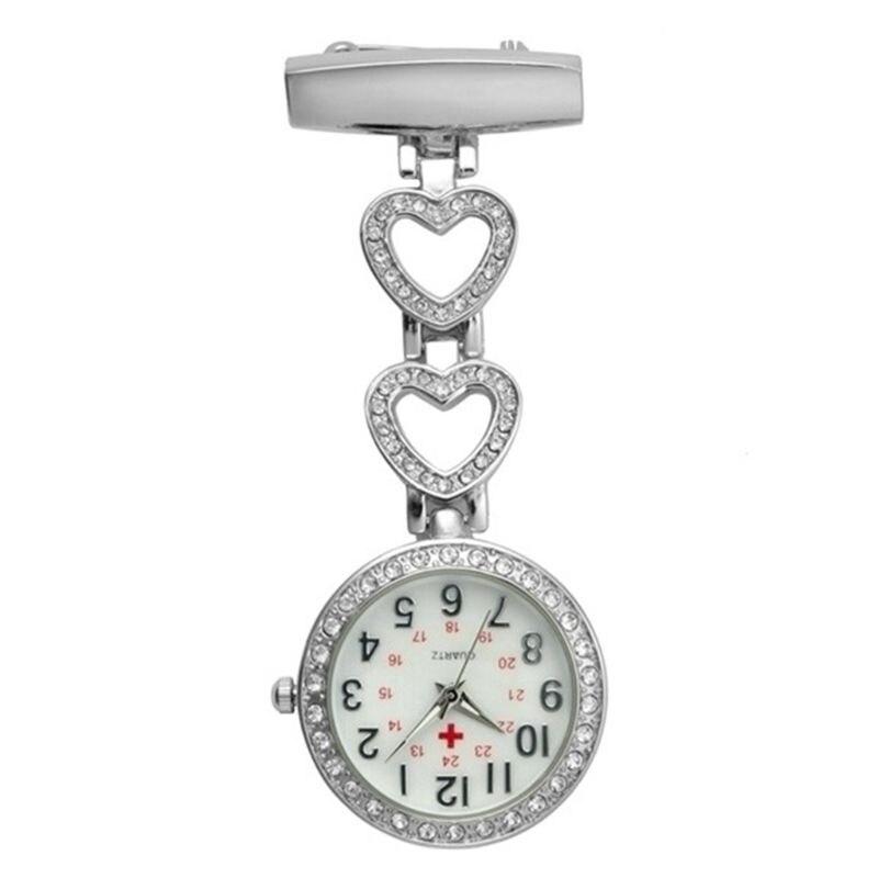 Fashion Women Pocket Watch Clip-on Fob Quartz Brooch Heart Hanging Watch Crystal Clock For Medical Pattern Watch