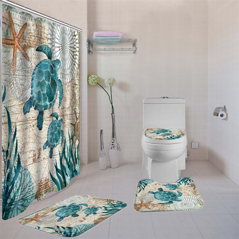 Women Printed Bathroom Curtain Set Made Of Non PEVA Material With Toilet Seat Cover 5