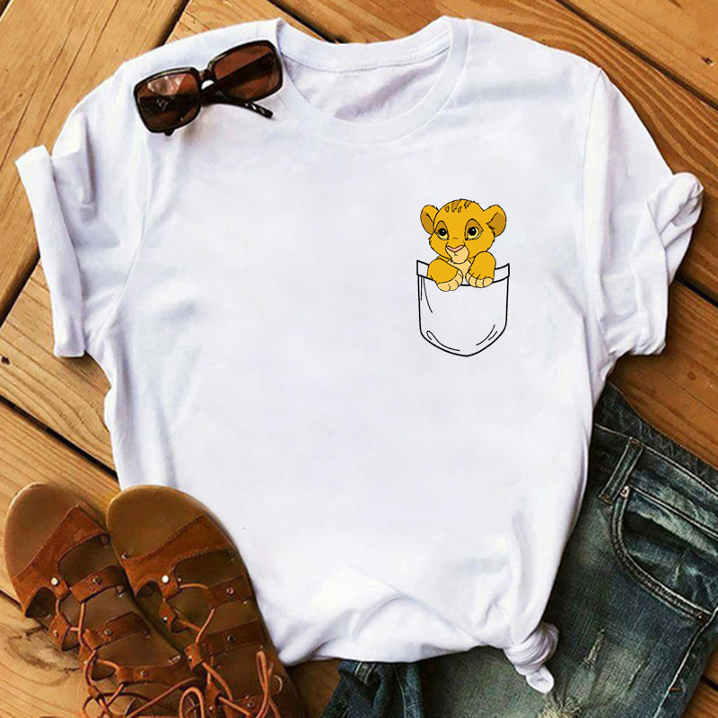 Maycaur T-shirt Women 2020 Summer Fashion Cartoon Lion King Pocket Print Tshirts Harajuku Casual Short Sleeve Tshirt Female Tops