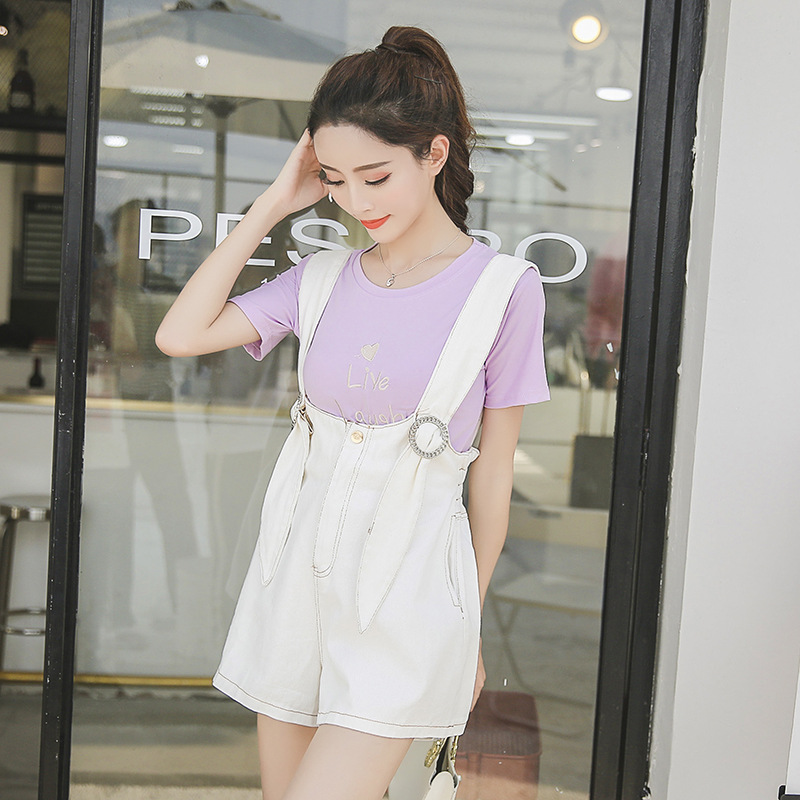 Korean-style Short Sleeve T-shirt + High-waisted Students Suspender Pants Hipster Two-Piece Women's Summer Influx