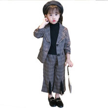 New Fashion Girls Blazer Suit for Kids Wedding Blazers For Tuxedo Teenagers Children Formal Clothes Set 2PCS