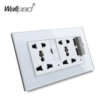 Painel de Vidro Duplo 5 S6 Wallpad Pin Tomada Universal com 3.1A 2 x Portas USB de Carregamento, REINO UNIDO DA UE EUA Tomada de Parede Tomada MF