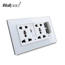 Wallpad S6 แผงกระจกคู่ 5 ขาซ็อกเก็ต 3.1A 2 x พอร์ตชาร์จ USB, EU UK US เต้าเสียบผนัง MF ซ็อกเก็ต
