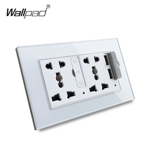 Wallpad S6 Glass Panel Double 5 Pin Universal Socket with 3.1A 2 x USB Charging Ports,  EU UK US Wall Power Outlet MF Socket