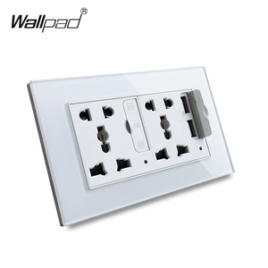 Image 1 - Wallpad S6 Glass Panel Double 5 Pin Universal Socket with 3.1A 2 x USB Charging Ports,  EU UK US Wall Power Outlet MF Socket