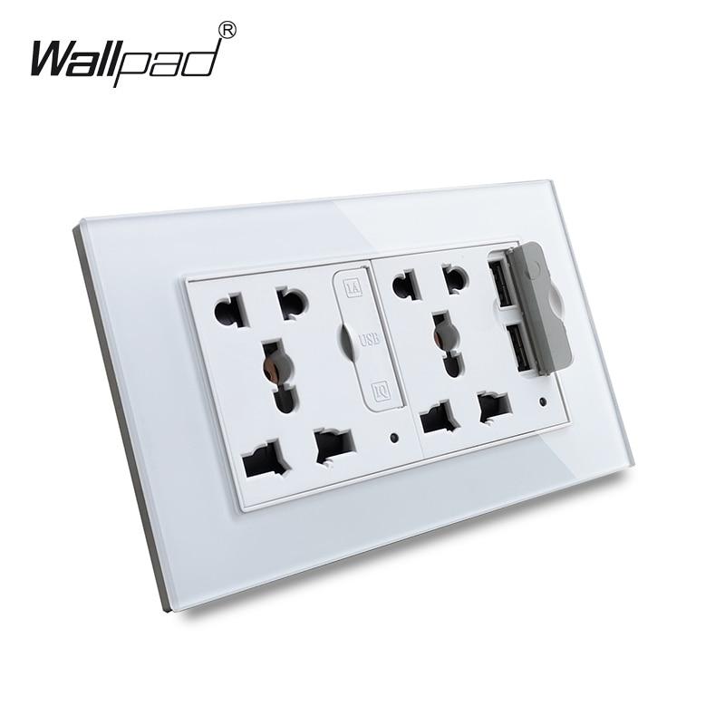 Wallpad S6 Panel de vidrio doble 5 pines enchufe Universal con 3.1A 2 puertos de carga USB, UE Reino Unido EE. UU. Toma de corriente conector MF|Enchufes eléctricos|   - AliExpress