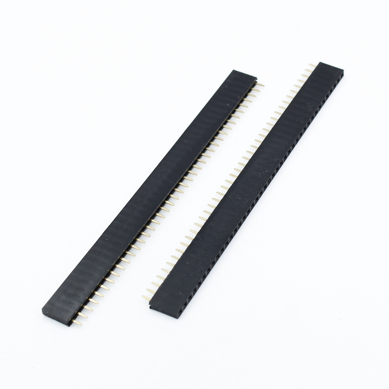 6 Pair Male Female Black 40 PCB Single Row Round Pin 2.54mm Pitch Spacing Header